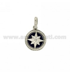 CHARM ROUND 15 MM WITH WIND ROSE SILVER RHODIUM TIT 925 ‰ AND POLISH ZIRCONE