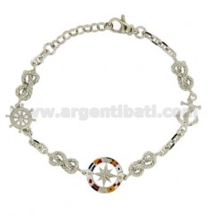 BRACELET WITH ROSE OF THE WINDS IN AG TIT 925 ‰ AND POLISH CM 18.21