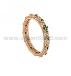 RING TYPE ZIRCONIA ROSARY WITH ROSE GOLD PLATED GREEN IN AG TIT 925 ‰ MIS 26