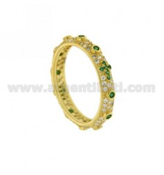 RING TYPE ZIRCONIA ROSARY WITH GREEN GOLD PLATED IN AG TIT 925 ‰ MIS 14