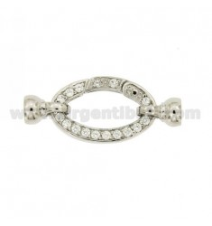 CHIUSURA ELLISSE MM 15X23 CON COPPETTE IN ARGENTO RODIATO TIT 925‰ E ZIRCONI