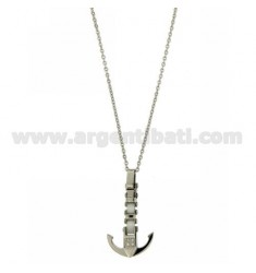 CHAIN CABLE CM 45.50 WITH CHARM STILL IN STEEL AND ZIRCONIA WHITE CERAMIC