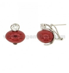 RED PEARL EARRINGS IN SILVER AND TIT 925 ZIRCONE