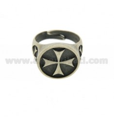 RING ROUND 18 MM WITH CROSS IN SILVER BRUNITO TIT 925 ‰