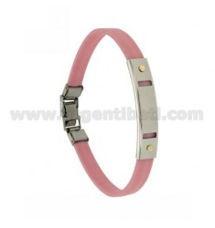BRACELET RUBBER &39ROSE PLATE.THROUGH WITH SEGMENTS STEEL Vitine Bilamina IN BRASS AND GOLD