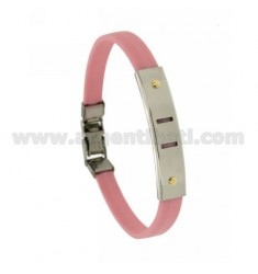 PINK RUBBER BRACELET WITH PERFORATED PLATE NEAR SEGMENTS IN STEEL WITH BILAMINE BRASS AND GOLD VITINS