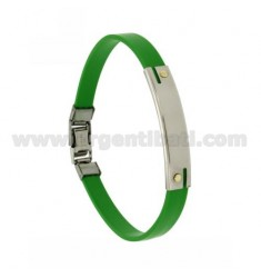 GREEN RUBBER BRACELET WITH PERFORATED PLATE EXTERNAL STEEL SEGMENTS WITH BILAMINE BRASS AND GOLD SCREWS