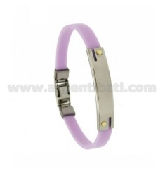 LILAC RUBBER BRACELET WITH PERFORATED PLATE EXTERNAL STEEL SEGMENTS WITH BILAMINE BRASS AND GOLD SCREWS