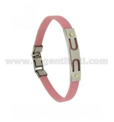 PINK RUBBER BRACELET WITH PERFORATED PLATE IN STEEL ARCHES WITH BILAMINE BRASS AND GOLD VITINS