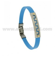 LIGHT BLUE RUBBER BRACELET WITH PERFORATED GREEK STEEL PLATE WITH BILAMINE BRASS AND GOLD VITINS