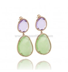 EARRINGS DOUBLE STONE SILVER PLATED ROSE GOLD TITLE 925 ‰ WITH STONES HYDROTHERMAL LILAC AND GREEN PASTEL PEARL PEARL 29P 4P