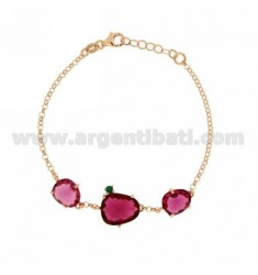 ROLO BRACELET WITH 3 HYDROTHERMAL STONES FUCHSIA 16 WITH ZIRCONIA SIDE GREEN 40 IN AG ROSE GOLD PLATED TIT 925 ‰ CM 18