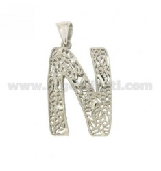 CHARM LETTER N 37x24 MM SILVER Arcbound TIT 925