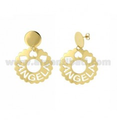 EARRINGS ROUND 36 MM SCALLOPED ANGELA IN GOLD PLATED TIT 925