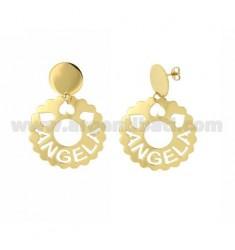 Ohrringe runden 36 mm AUSGEBOGTES ANGELA aus Vergoldete TIT 925