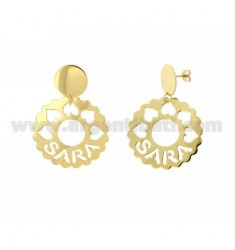 EARRINGS ROUND 36 MM SCALLOPED SARA SILVER GOLD PLATED TIT 925
