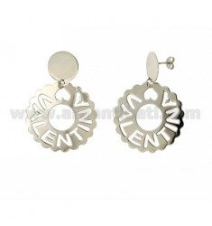 EARRINGS ROUND SCALLOPED MM 36 VALENTINA SILVER RHODIUM TIT 925