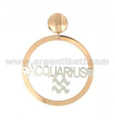 EARRING ROUND 56 MM MONO ZODIAC AQUARIUS SILVER PLATED RHODIUM AND ROSE GOLD TIT 925 ‰