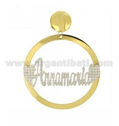 EARRING ROUND 56 MM MONO ANNAMARIA IN SILVER AND GOLD PLATED RHODIUM TIT 925 ‰
