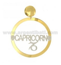 EARRING ROUND 56 MM MONO ZODIAC CAPRICORN SILVER PLATED RHODIUM AND GOLD TIT 925 ‰