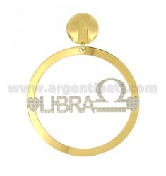 EARRING ROUND 56 MM MONO ZODIAC LIBRA IN SILVER AND GOLD PLATED RHODIUM TIT 925 ‰