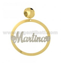 EARRING ROUND 56 MM MONO MARTINA IN SILVER AND GOLD PLATED RHODIUM TIT 925 ‰