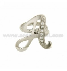 RING A LETTER ITALICS MM 30x20 Silber Rhodium TIT 925 ‰ und Zirkonia