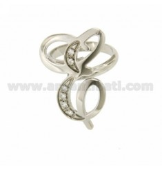 RING LETTER AND ITALICS MM 30X20 SILVER RHODIUM TIT 925 ‰ AND ZIRCONIA