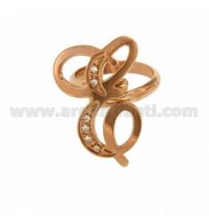 RING LETTER und Kursiv MM 30x20 SILVER Rose Gold überzogenen TIT 925 ‰ und Zirkonia