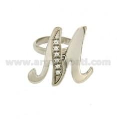 RING LETTER ITALICS M MM 30x20 Silber Rhodium TIT 925 ‰ und Zirkonia