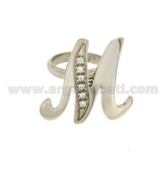 RING LETTER ITALICS M MM 30X20 SILVER RHODIUM TIT 925 ‰ AND ZIRCONIA