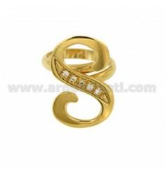 RING S LETTER ITALICS MM 30x20 Silber vergoldet TIT 925 ‰ und Zirkonia