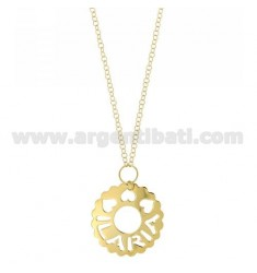ROLO CHAIN 85 CM ROUND SCALLOPED ILARIA 36 MM IN GOLD PLATED TIT 925 ‰