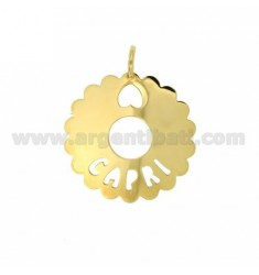 CHARM ROUND SCALLOPED 35 MM CAPRI SILVER GOLD PLATED TIT 925