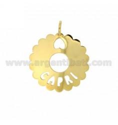 CHARM RUND AUSGEBOGTES 35 MM CAPRI Silber vergoldet TIT 925
