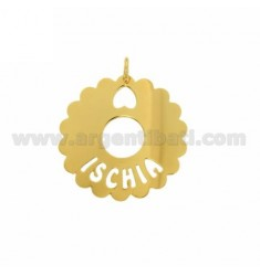 CHARM ROUND SCALLOPED 35 MM ISCHIA IN GOLD PLATED TIT 925