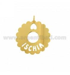 CHARM RUND AUSGEBOGTES 35 MM ISCHIA Aus vergoldetem TIT 925