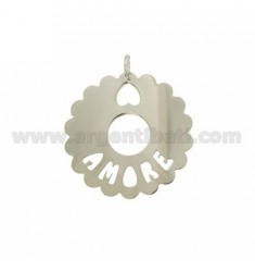 CHARM ROUND SCALLOPED MM 35 LOVE IN SILVER RHODIUM TIT 925