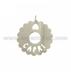 CHARM ROUND SCALLOPED 35 MM CAPRI SILVER RHODIUM TIT 925