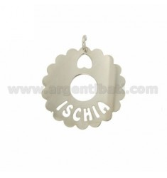 CHARM ROUND SCALLOPED 35 MM ISCHIA IN SILVER RHODIUM TIT 925