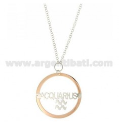 ROLO CHAIN 'CM 85 WITH ROUND PENDANT MM 56 ZODIACO ACQUARIUS IN SILVER PLATED RHODIUM AND ROSE GOLD TIT 925 ‰