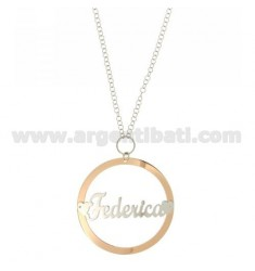 ROLO CHAIN 'CM 85 WITH ROUND PENDANT 56 MM FEDERICA SILVER PLATED RHODIUM AND ROSE GOLD TIT 925 ‰