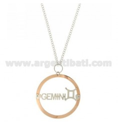 ROLO CHAIN 'CM 85 WITH ROUND PENDANT MM 56 ZODIACO GEMINI IN SILVER PLATED RHODIUM AND ROSE GOLD TIT 925