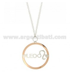 ROLO CHAIN 'CM 85 WITH ROUND PENDANT 56 MM ZODIAC LEO IN SILVER PLATED RHODIUM AND ROSE GOLD TIT 925 ‰