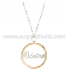 ROLO CHAIN 'CM 85 WITH ROUND PENDANT 56 MM VALENTINA IN SILVER PLATED RHODIUM AND ROSE GOLD TIT 925 ‰
