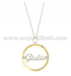ROLO CHAIN 'CM 85 WITH ROUND PENDANT MM 56 GIULIA SILVER PLATED RHODIUM AND GOLD TIT 925 ‰