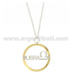 ROLO CHAIN 'CM 85 WITH ROUND PENDANT MM 56 LIBRA IN SILVER PLATED RHODIUM AND GOLD TIT 925 ‰