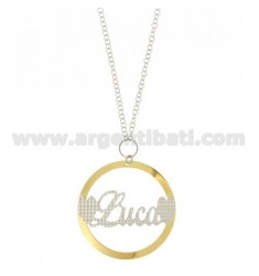 ROLO CHAIN 'CM 85 WITH ROUND PENDANT 56 MM LUCIA IN SILVER PLATED RHODIUM AND GOLD TIT 925