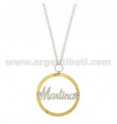 ROLO CHAIN 'CM 85 WITH ROUND PENDANT MM 56 MARTINA SILVER PLATED RHODIUM AND GOLD TIT 925 ‰