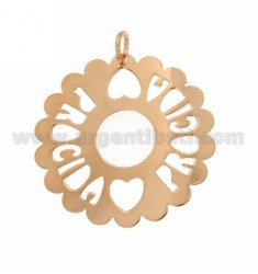 CHARM ROUND SCALLOPED MM 50 PROCIDA SILVER ROSE GOLD PLATED TIT 925